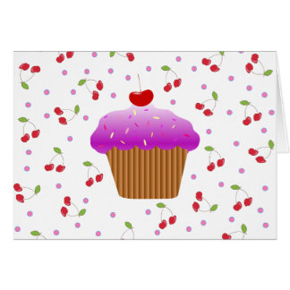 Cupcake and Cherries Greeting Card