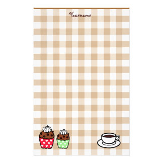 Cupcake and Gingham Stationery