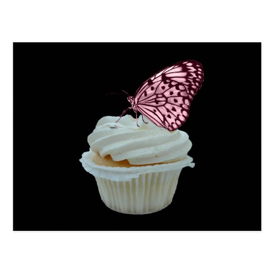 Cupcake and pink butterfly postcard