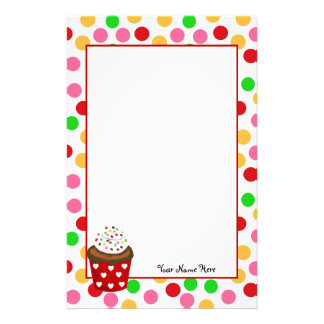 Cupcake and Polka Dot Stationery