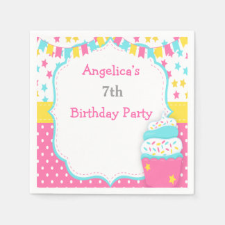 Cupcake and Sprinkles Birthday Party Paper Napkin