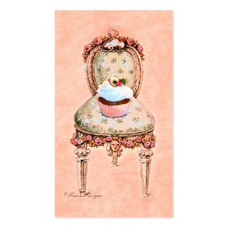Cupcake and Victorian Chair Business Cards
