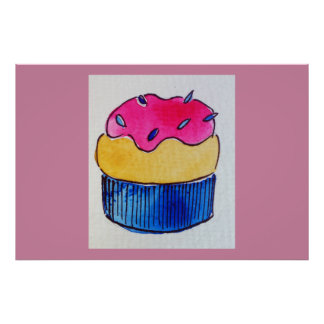 Cupcake art poster print