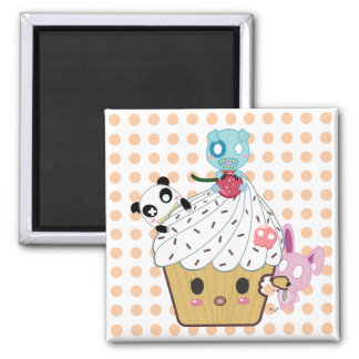 Cupcake Attack! (>_<) Square Magnet