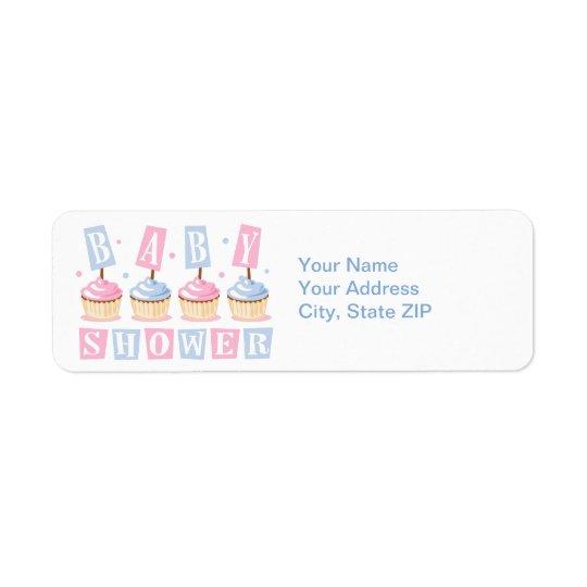 Cupcake Baby Shower Label Return Address Label