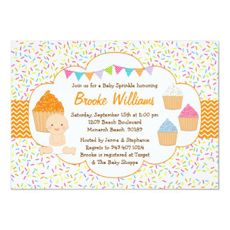 "Cupcake Baby Sprinkle Shower Invitation Neutral 5"" X 7"" Invitation Card"