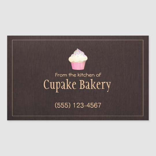 Cupcake Bakery Business Card Brown Label Sticker
