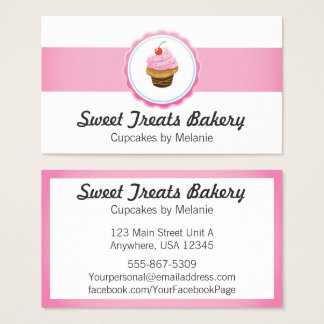 Cupcake Bakery Business Cards Cake Catering Pink