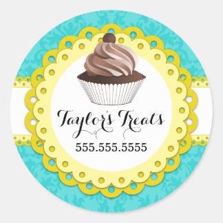 Cupcake Bakery Damask Yellow Scallop Seals Round Sticker