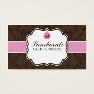Cupcake Bakery Elegant Damask Floral Pattern Business Card