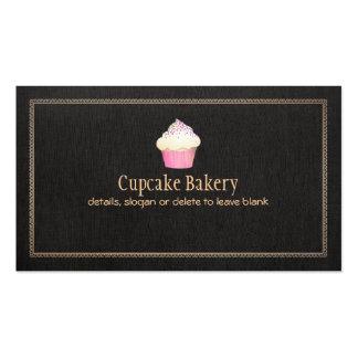 Cupcake Bakery Faux Black Linen 1 Business Card