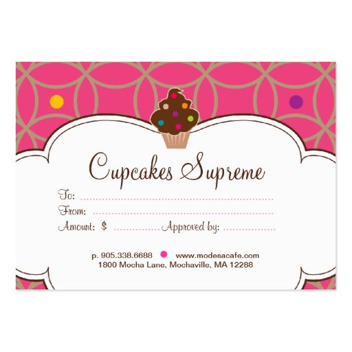 Cupcake Bakery Gift Certificate Dots Pink White