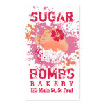 Cupcake bakery ink blot grunge splatter pink pack of standard business cards
