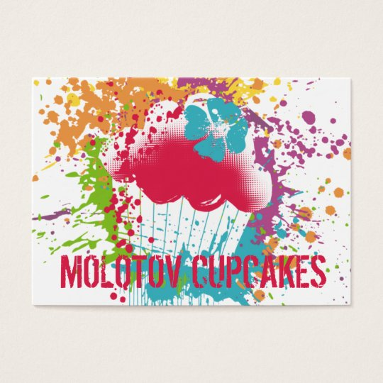 Cupcake bakery ink blot grunge splatter rainbow business