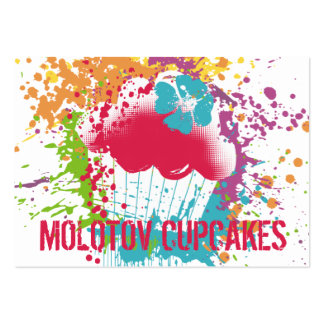 Cupcake bakery ink blot grunge splatter rainbow pack of chubby business cards