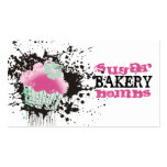 Cupcake bakery ink blot grunge splatters pink mint pack of standard business cards