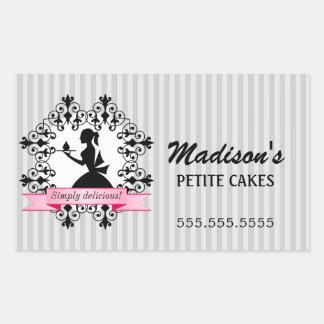 Cupcake Bakery Lady Silhouette Silver Pink Rectangular Sticker