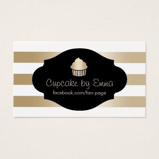 Cupcake Bakery Modern Gold Stripes Business Card