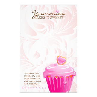 Cupcake Bakery Pastry Chef Pink Heart Leaves 2 Stationery