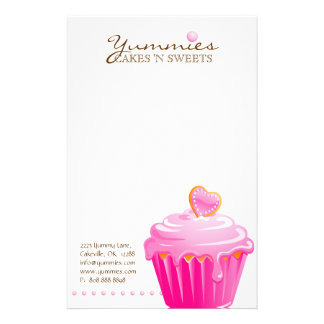 Cupcake Bakery Pastry Chef Pink Heart Stationery