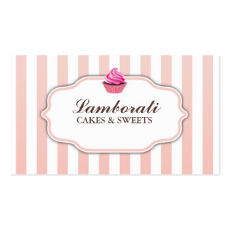 Cupcake Bakery Pink  Cute Elegant Modern Double-Sided Standard Business Cards (Pack Of 100)