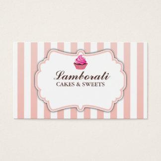 Cupcake Bakery Pink Stripes Cute Elegant Modern