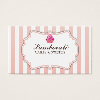Cupcake Bakery Pink Stripes Cute Elegant Modern Business Card