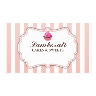 Cupcake Bakery Pink Stripes Cute Elegant Modern Pack Of Standard Business Cards