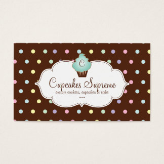 Cupcake Bakery Polka Dots Chocolate Mint Green