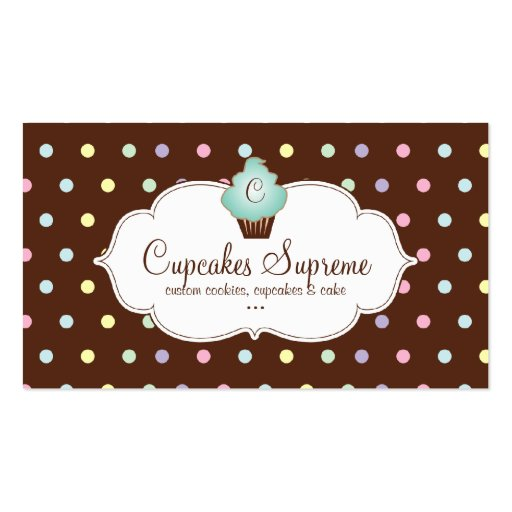 Cupcake Bakery Polka Dots Chocolate Mint Green Business Cards