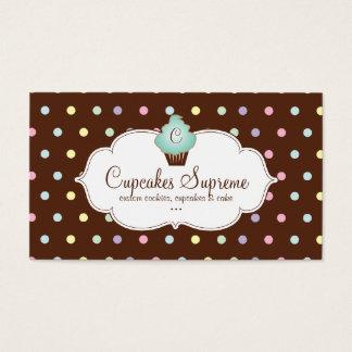 Cupcake Bakery Polka Dots Chocolate Mint Green Business Card