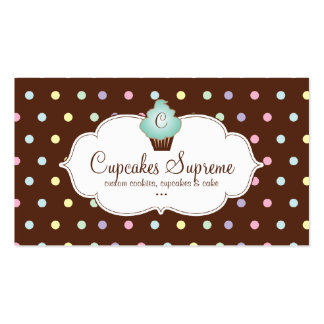 Cupcake Bakery Polka Dots Chocolate Mint Green Pack Of Standard Business Cards