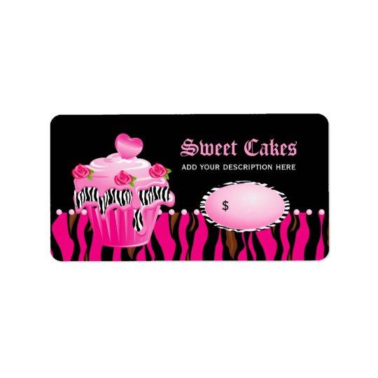 Cupcake bakery price label tiger rose pink black address label