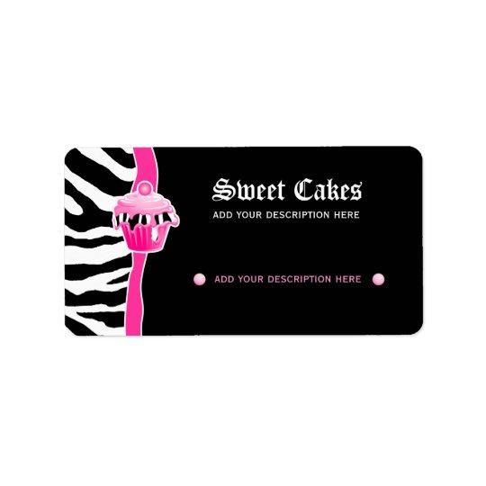Cupcake bakery price label zebra retro pink 2 address label