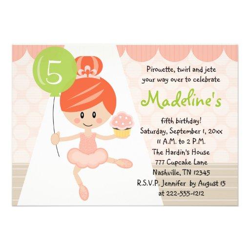 Cupcake Ballerina Birthday Invitation Redhead
