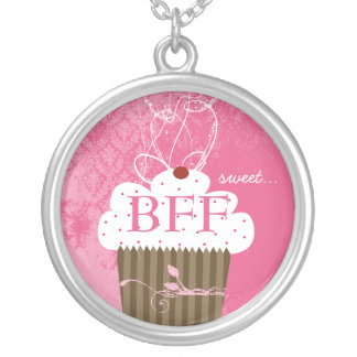 Cupcake Best Friends Forever BFF Sweet Round Pendant Necklace