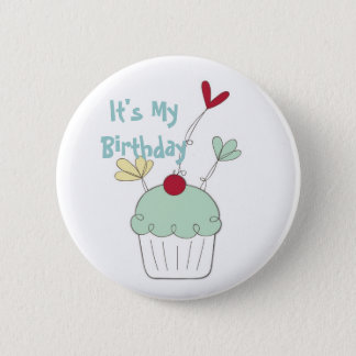 Cupcake birthday badge with cherry and flowers