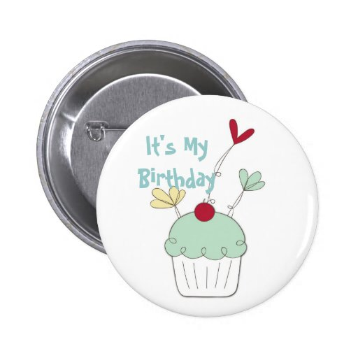 Cupcake birthday badge with cherry and flowers pinback buttons
