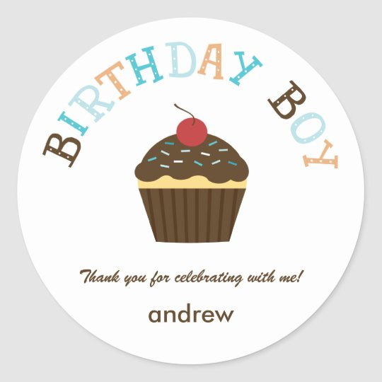 Cupcake Birthday Boy Favour Sticker /Envelope Seal