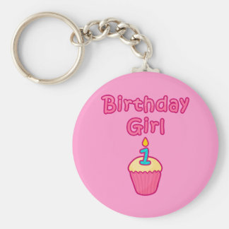 Cupcake Birthday Girl 1 Basic Round Button Key Ring