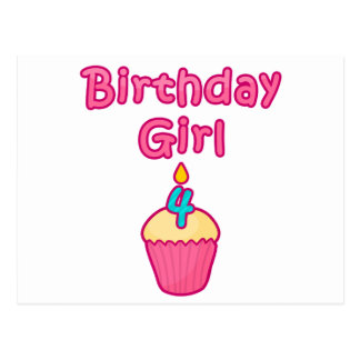 Cupcake Birthday Girl 4 Postcard