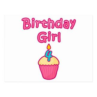 Cupcake Birthday Girl 4 Postcard