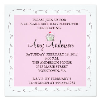 Cupcake Birthday Sleepover! 13 Cm X 13 Cm Square Invitation Card