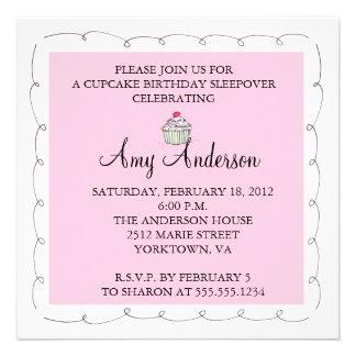 Cupcake Birthday Sleepover! Personalized Invite