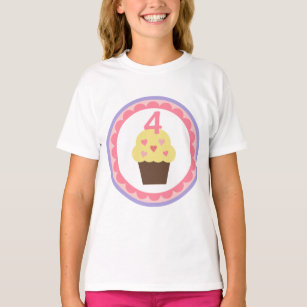 Cupcake Birthday T Shirt 4 Years Old