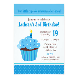 Cupcake Blue Birthday Party Invitation