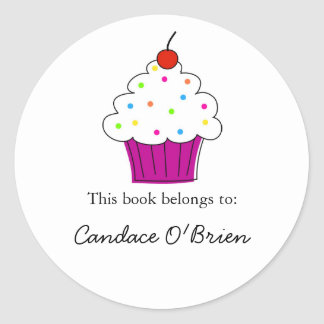 Cupcake Bookplate Labels Round Stickers