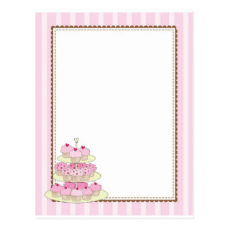 Cupcake Border Yellow Post Cards