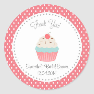 Cupcake Bridal Shower Thank You Sticker