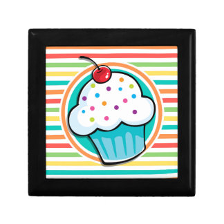 Cupcake; Bright Rainbow Stripes Gift Boxes
